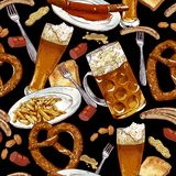 Seamless background with beer glasses, pretzel. And sausages and fried potatoes Oktoberfest Celebration design Royalty Free Stock Photography
