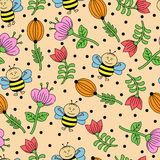 Seamless background with bees and flowers Stock Photo