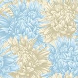 Seamless background with beige and blue aster. Hand-drawn with effect of drawing in watercolor Royalty Free Stock Photo