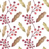 Seamless background with berries of mountain ash vector illustration
