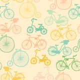 Seamless background. Bicycle set. Sketch st stock illustration