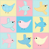 Seamless background with birds fabric Royalty Free Stock Images