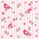 Seamless background with birds and flowers Royalty Free Stock Image