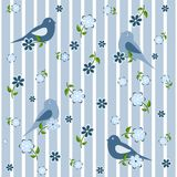 Seamless background with birds and flowers Stock Image
