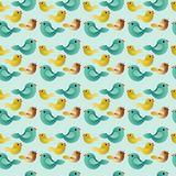 Seamless pattern with flowers. Seamless background with birds. Regular happy pattern Stock Photos