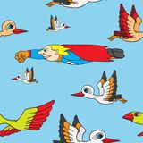 Seamless background. Birds and superman flying in Stock Photo