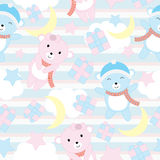 Seamless background of birthday illustration with cute baby bears on blue stripe background suitable for wallpaper, scrap paper an Royalty Free Stock Photo