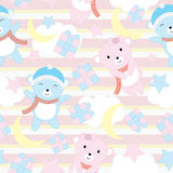 Seamless background of birthday illustration with cute baby bears on blue stripe background suitable for wallpaper, scrap paper an Stock Photo