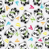 Seamless background of Birthday illustration with cute baby panda  Stock Photos