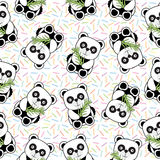 Seamless background of Birthday illustration with cute baby panda on sprinkles background Stock Images