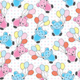 Seamless background of birthday illustration with cute bears bring balloons on polka dot background Royalty Free Stock Photos