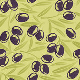 Seamless background with black olives Stock Photography