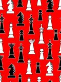 Seamless background with black and white chess pieces on light red background. Uneven distributed horse, king, queen, bishop and k. Night, Vector EPS 10 Stock Image
