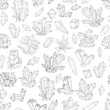 Seamless background with black and white doodle crystals on white background.  Stock Photography