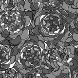 Seamless background with black and white flowers. Royalty Free Stock Photos