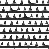 Seamless background in black-and-white style with spruce trees on the road. Vector Stock Photo