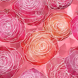 Seamless background with blooming rose flowers in triangles styl Royalty Free Stock Photo