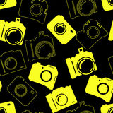 Seamless background with blue cameras Stock Image