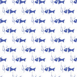 Seamless background with blue fish. And fish hook Stock Photos