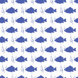 Seamless background with blue fish. And fish hook Stock Images