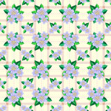 Seamless background with blue flowers. Light brown seamless texture with pastel blue flowers and leaves Royalty Free Stock Photos