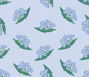 Seamless background with blue flowers. Seamless pattern background with circle bouquets of blue flowers forget-me-not Royalty Free Stock Photo