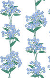 Seamless background with blue flowers Royalty Free Stock Photography