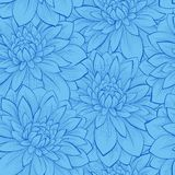 Seamless background with blue flowers. Beautiful seamless background with blue flowers. Hand-drawn contour lines and strokes. Perfect for background greeting royalty free illustration