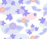 Seamless background with blue flowers and ellipses on a uniform white background. EPS10 vector illustration.  Stock Images