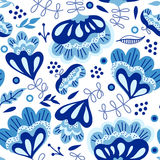 Seamless background with blue flowers. Seamless texture with abstract blue flowers. Can be used for wallpaper, pattern fills, web page background, surface Stock Photo