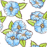 Seamless background with blue flowers. Seamless texture with blue flowers and leaves. Can be used for wallpaper, pattern fills, web page background, surface Royalty Free Stock Photo