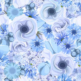 Seamless background with blue flowers. Vector illustration. Vector seamless background with blue lisianthus, lilac, tulips, cornflowers and hydrangea flowers Royalty Free Stock Images