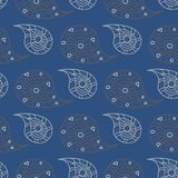 Seamless background. Blue and gray floral pattern. For wallpapers, textile and fabrics Stock Photos