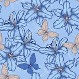 Seamless background with blue lilies. Royalty Free Stock Image