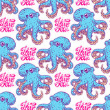 Seamless background of blue octopuses Stock Photography