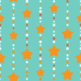Seamless background with blue and orange dots and orange stars on white background. aquamarine. Beads string with balls and stars. Vector illustration. Cute Stock Images