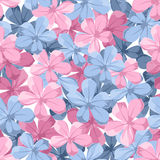 Seamless background with blue and pink flowers. Royalty Free Stock Photography