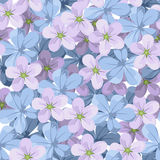 Seamless background with blue and purple flowers. Stock Image