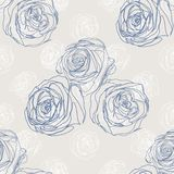 Seamless background with blue roses Royalty Free Stock Photography