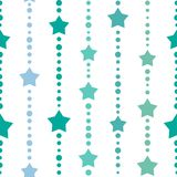Seamless background with blue and turquoise dots and stars on white background. Aquamarine beads string with balls and stars. Vector illustration. Cute stars Stock Photos