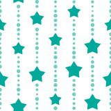 Seamless background with blue and turquoise dots and stars on white background. Aquamarine beads string with balls and stars. Vector illustration. Cute stars Stock Photo
