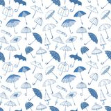 Seamless background with blue umbrellas. Can be used for wallpaper, pattern fills, textile, web page background, surface. Textures vector illustration