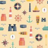 Seamless background on boating theme Stock Image