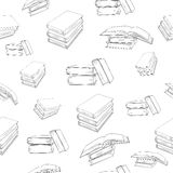 Seamless background with books. Seamless outline books pattern.  Vector seamless texture Stock Photos
