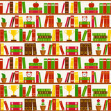 Seamless background with bookshelves. Vector pattern. Stock Photos