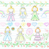 Seamless background with borders in doodle style and happy littl Royalty Free Stock Images