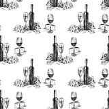 Pattern of the wine bottles with wine glasses,grape and cheese Stock Image