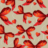Seamless background with bows and hearts Stock Photos