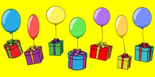 Seamless background of boxes with gifts Vector Illustration