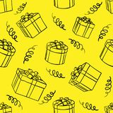 Seamless background of boxes with gifts Stock Illustration